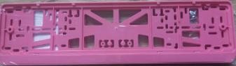 Антивандальная рамка на государственный номер - розовая рамка номерного знака